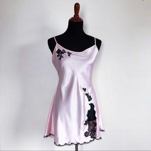 victoria's secret   pink satin chemise black lace